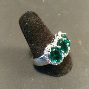 Stamped 925-Sterling Silver-Green Stones Ring-Sz 9